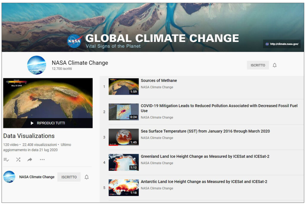 playlist di video sul canale YouTube NASA Global Climate Change