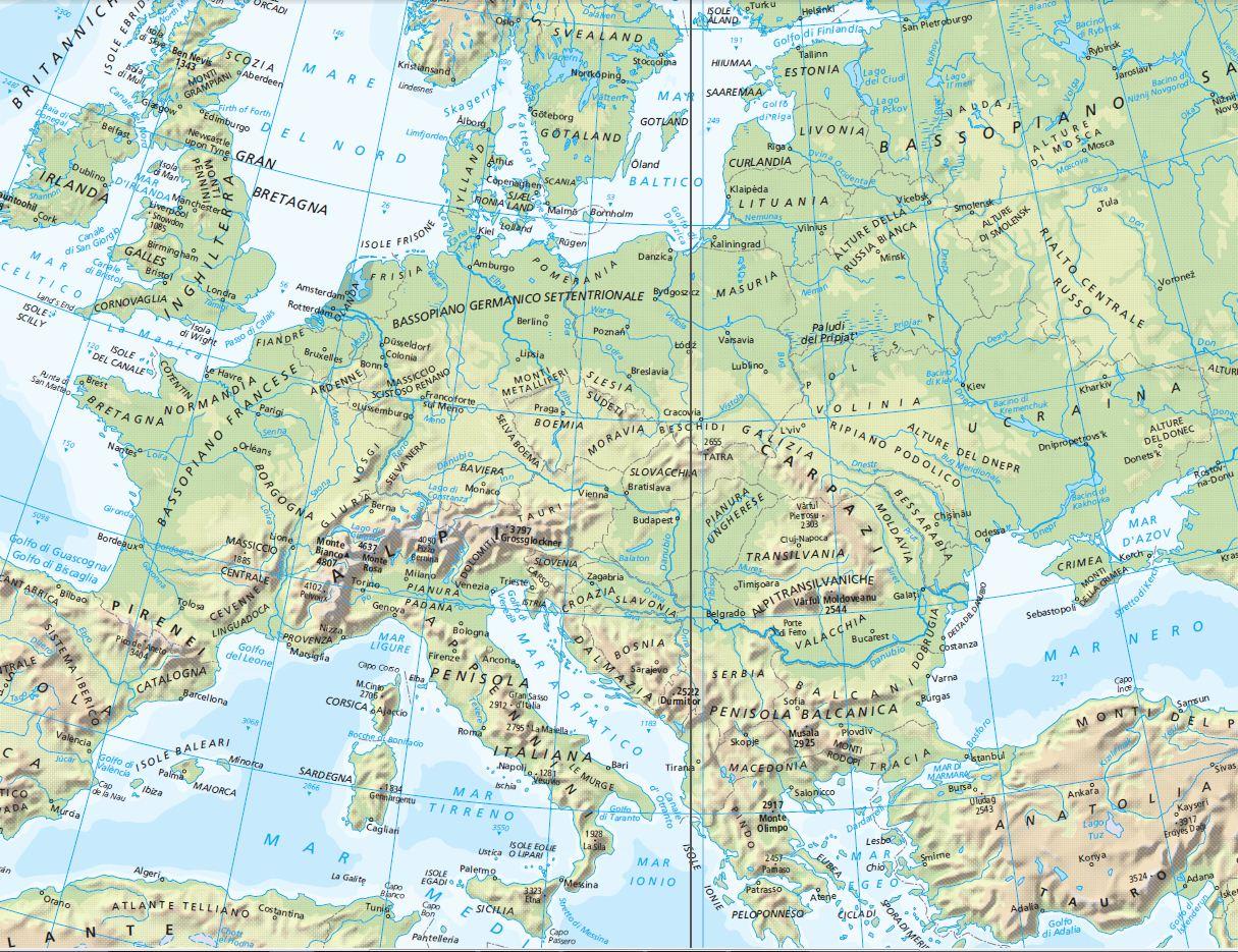 Cartina Muta Dell Europa Fisica Da Stampare.Cartina Europa Politica In Italiano