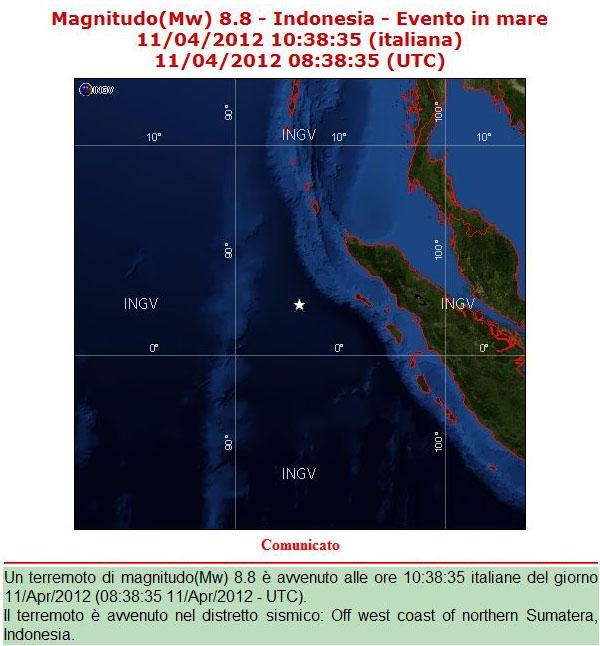 Allerta tsunami a sumatra forti scosse nella zona colpita for Ingv lista terremoti di oggi
